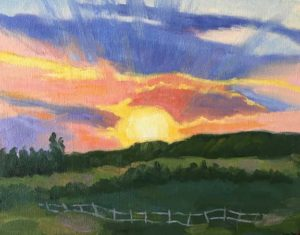 Sunrise at the Flying W, oil, 8x10, $175